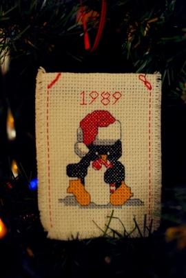 penguin cross stitch ornament