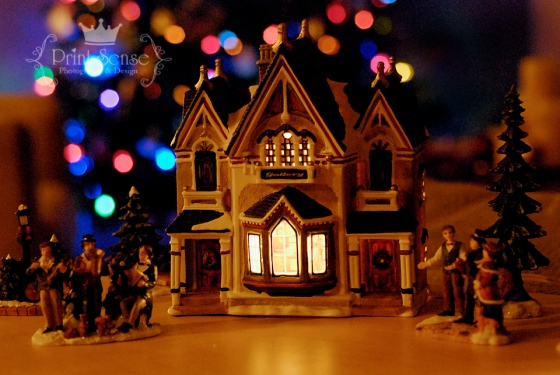 Christmas lights with holiday village